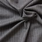 Woolen fabric grey chiné striped Borsalino