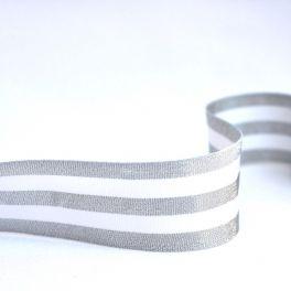 GALON ARGENT rayé blanc