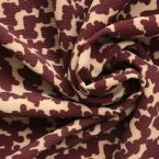 Tissu en crêpe épais motif vintage ocre et beige