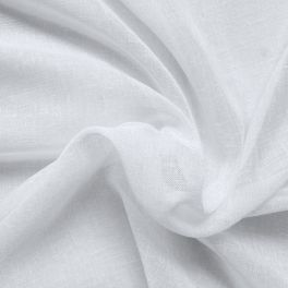 Tissu en voile polyester effet lin blanc cassé