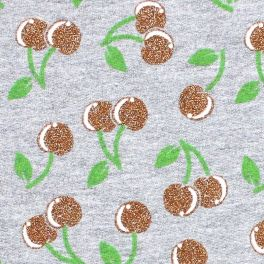 Chiné grey sweatshirt fabric with bears and silver sequins