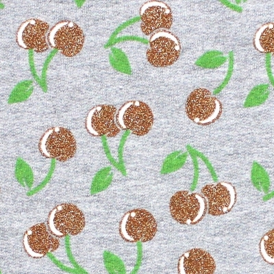 Tissu sweat fin molletonné cerises paillettées
