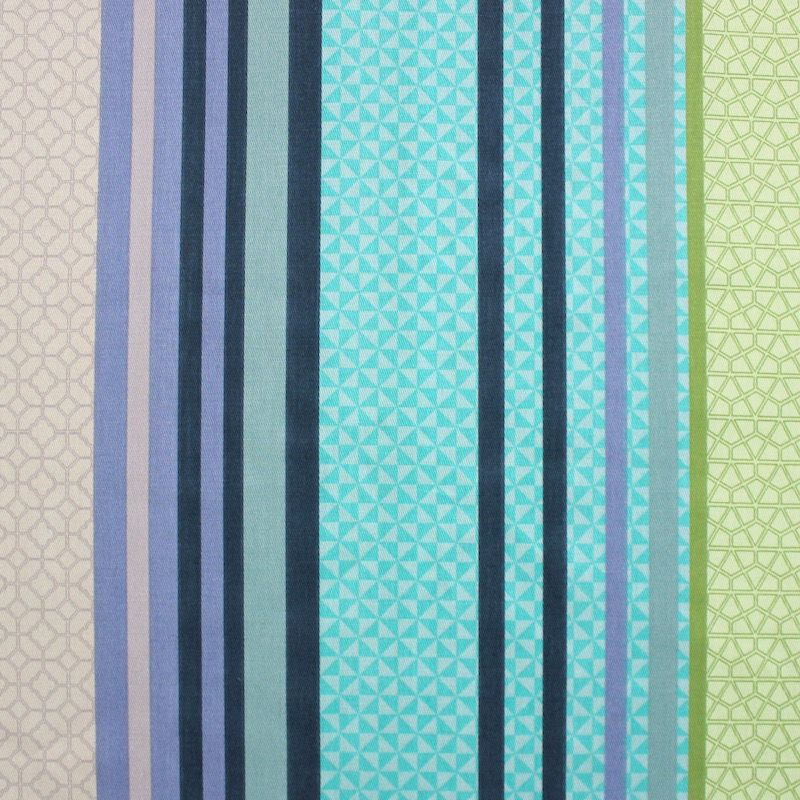 Tissu d'ameublement rayé multi motifs turquoise et vert anis