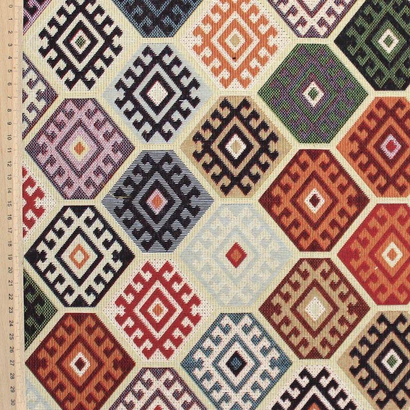 Tissu d 39 ameublement jacquard motif ethnique vintage multicolore - Tissu ameublement vintage ...