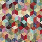 Tissu d'ameublement jacquard à motif ethnique vintage multicolore