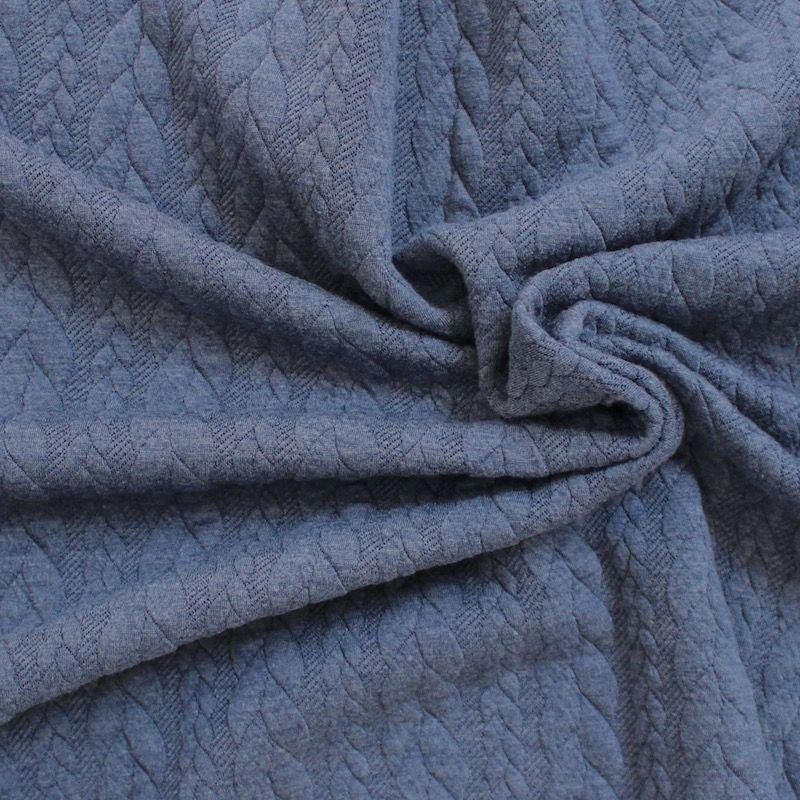 Tissu jersey matelassé à motif torsade bleu jeans