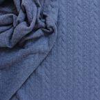 jeansblauw jersey met gevlochten motief