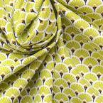 Katoenen stof met citrus groene waaier bedrukking
