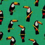 Tissu en coton à motif de toucans sur fond vert chlorophylle