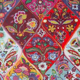 Red cotton fabric with acrylic coating with orange, beige and blue flowers