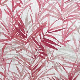 Toile de lin à motif bambou rose