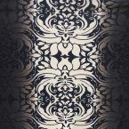 Tissu jersey lourd à motifs renaissance dégrade noir et écru