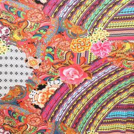 Tissu jersey épais à motif kaleidoscope et fleurs