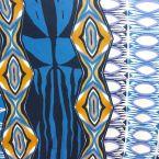Tissu jersey à motif vintage bleu, lavande et ocre