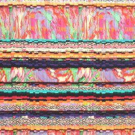 Tissu en coton extensible à motifs psychédélique multicolore