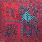 Panneau de tissu jersey en viscose turquoise te fuschia à motif floral