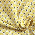 Tissu en coton à motif d'éventails jaune