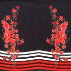 Panneau de tissu satin noir à rayures et double bouquet de roses