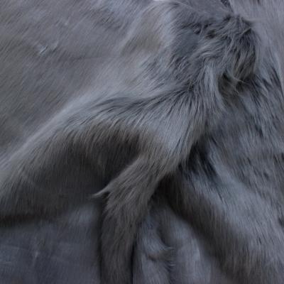 Fausse fourrure à poils lisse uni gris