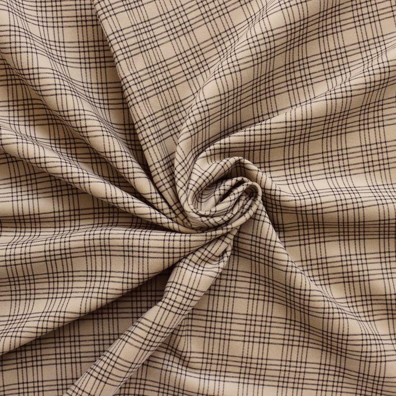tissu en coton gratt camel carreaux. Black Bedroom Furniture Sets. Home Design Ideas