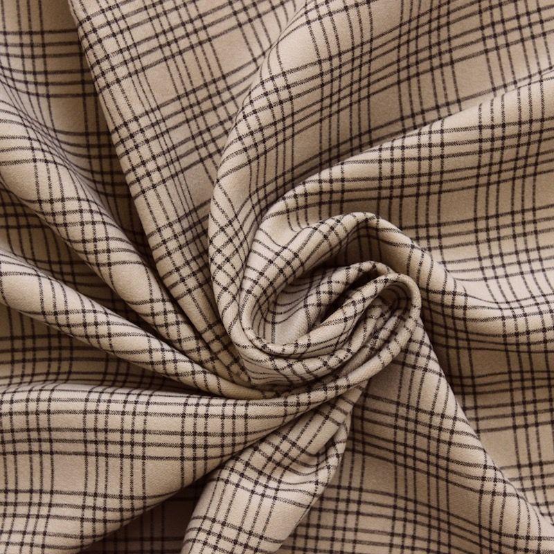 Tissu en coton gratt camel carreaux for Tissu a carreaux