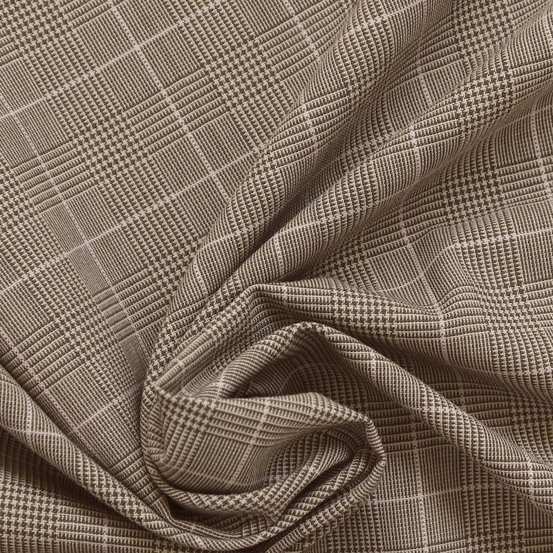 tissu en polyester prince de galles taupe. Black Bedroom Furniture Sets. Home Design Ideas