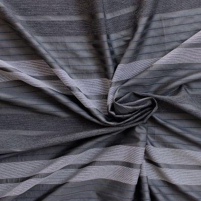 Tissu vestimentaire rayé taupe, anthracite et blanc