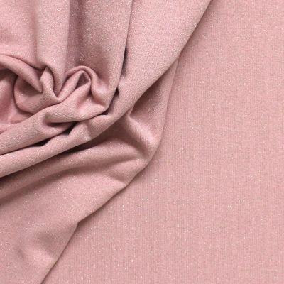 Tissu sweat molletonné effet pailleté rose blush