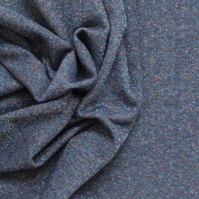 Tissu sweat molletonné effet pailleté bleu marine