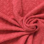 Tissu jersey à motif torsade rouge litchi