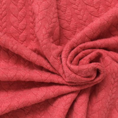 Quilted jersey fabric with pink twist and fluffy fleece back