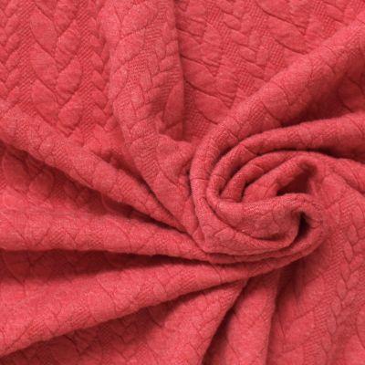 Tissu jersey matelassé à motif torsade rouge litchi