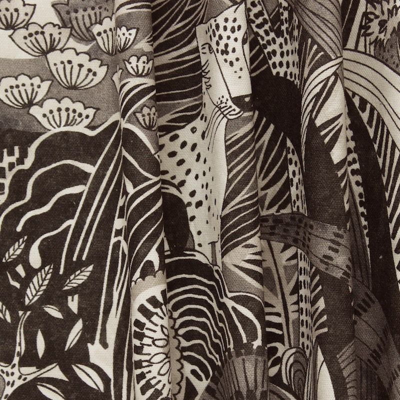 tissu d 39 ameublement imprim jungle effet encre de chine. Black Bedroom Furniture Sets. Home Design Ideas