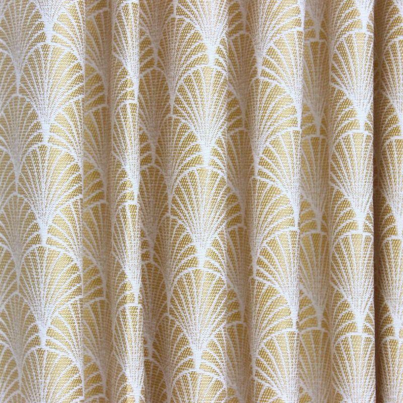 Tissu jacquard inspiration art d co motif ventail jaune - Tissu ameublement art deco ...