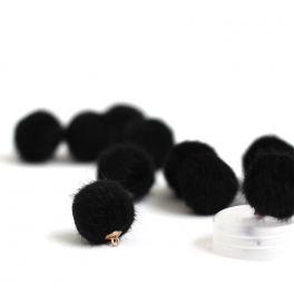 Bouton en fourrure noir