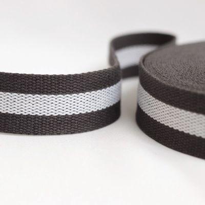 Sangle polyester gris ligné blanc