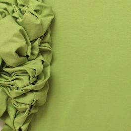 Stretch green duck jersey fabric in viscose and elastane