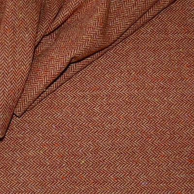 Bruine chevrons wol en polyester stof