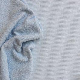 Tissu 100% coton double-face nid d'abeille et éponge bleu ciel