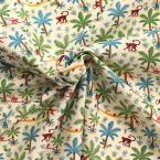 Fabric cretonne turquoise with geometric pattern