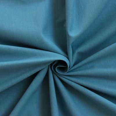 Tissu cretonne uni bleu guède