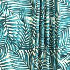 dralon buitenstof bedrukt met trukoois groen bladen