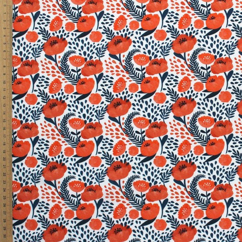 Tissu en coton imprimé fleur Hellebore orange