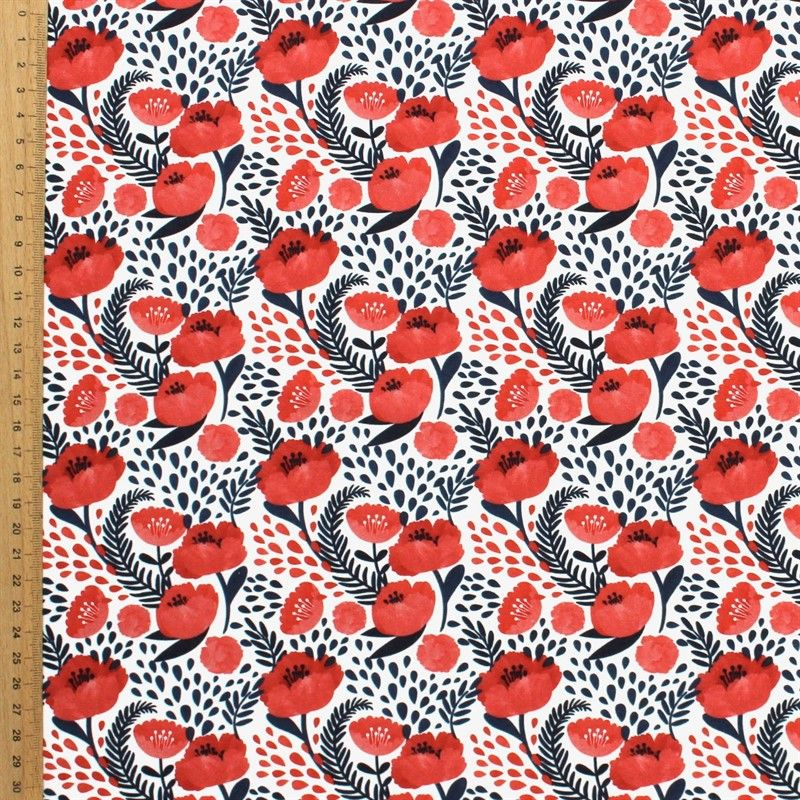 Cotton printed with hellebore flower - red