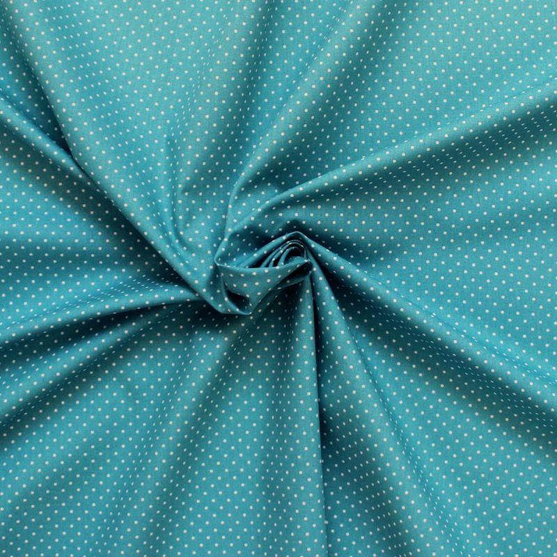 tissu en coton pois sur fond bleu turquoise. Black Bedroom Furniture Sets. Home Design Ideas