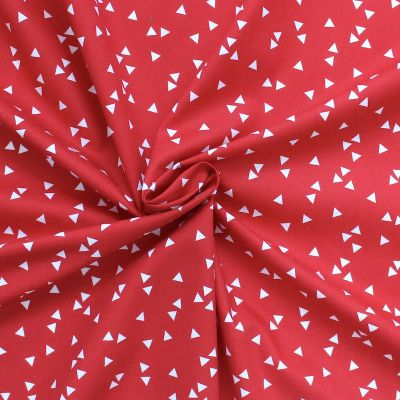 Cotton fabric with blue dots on white background