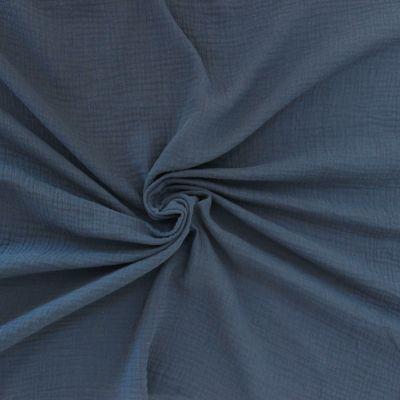 Tissu double gaze de coton indigo