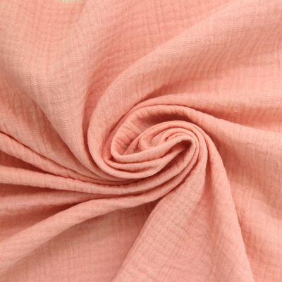 Tissu double gaze de coton rose blush