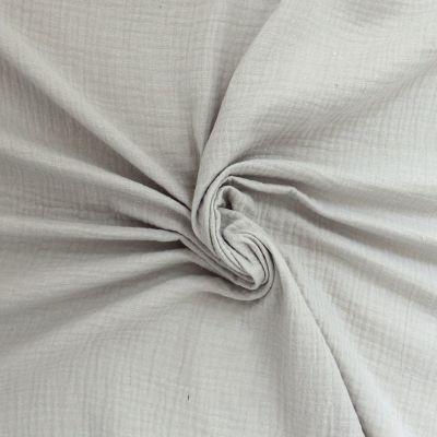 Tissu double gaze de coton gris clair