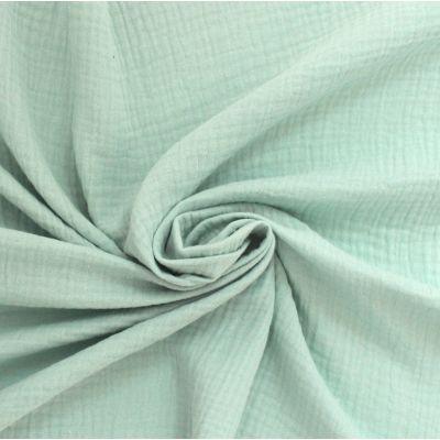 Tissu double gaze de coton menthe clair